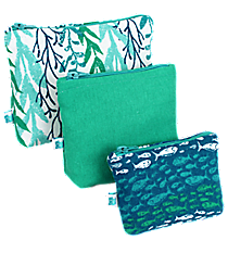 Multi-Blue Ocean Ivy and Fish 3-Piece Pouch Set #26037-IVY/FISH