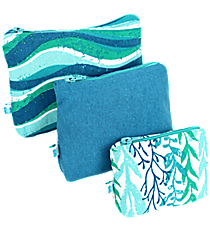 Multi-Blue Ocean Stripes and Ivy 3-Piece Pouch Set #26037-STRIPES/IVY