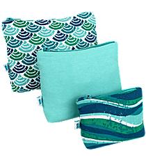 Multi-Blue Ocean Shells and Stripes 3-Piece Pouch Set #26037-SHELLS/STRIPES