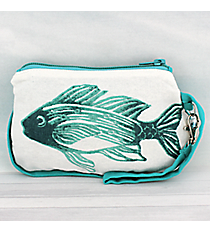 Ocean Blue Fish Cotton Wristlet #26039-FISH