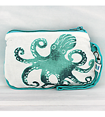 Ocean Blue Octopus Cotton Wristlet #26039-OCTOPUS