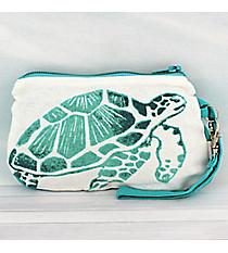 Ocean Blue Turtle Cotton Wristlet #26039-TURTLE