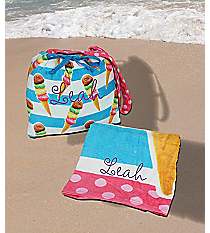 Velour Beach Towel with Towel Tote in Ice Cream Print #27117