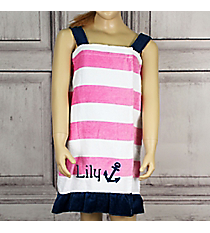 Girl's Striped Anchor Spa Wrap *Choose Your Size