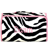 Mega Zebra Print with Light Pink Trim Roll Up Cosmetic Bag #CB25-2007-P