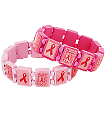 One Pink Ribbon Wooden Stretch Bracelet #29221-SHIPS ASSORTED