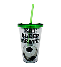 Eat Sleep Breathe Soccer 17 oz. Double Wall Tumbler with Straw #2AC0065