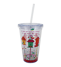Joshua 24:15 Birdhouses 17 oz. Double Wall Tumbler with Straw #2AC0076