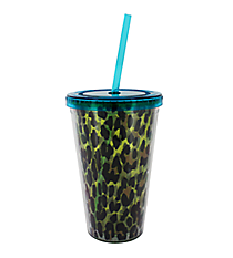 Green Leopard 17 oz. Double Wall Tumbler with Straw #2AC0095