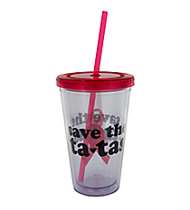 Save the Ta-Tas 17 oz. Double Wall Tumbler with Straw #2AC4148-TATAS