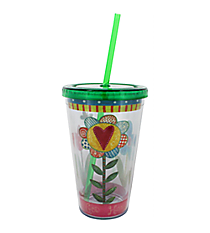 Faith Florals 17 oz. Double Wall Tumbler with Straw #2AC4245