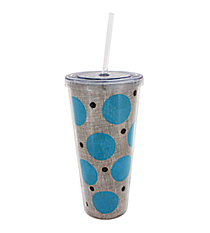 Turquoise Polka Dot Burlap 20 oz. Double Wall Tumbler with Straw #2DWT002-TQ