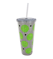 Lime Polka Dot Burlap 20 oz. Double Wall Tumbler with Straw #2DWT002-LM