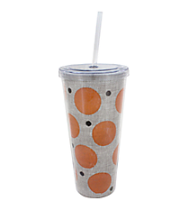 Orange Polka Dot Burlap 20 oz. Double Wall Tumbler with Straw #2DWT002-OR