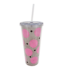 Pink Polka Dot Burlap 20 oz. Double Wall Tumbler with Straw #2DWT002-PK