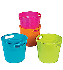 4 Plastic Bright Colorful Buckets #3/1908