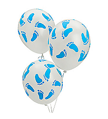 25 Blue Baby Footprint Balloons #3/2288