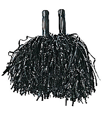 12 Metallic Black Pom Poms #3/259