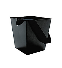 6 Black Buckets with Ribbon Handles #3/2628