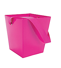 6 Hot Pink Buckets with Ribbon Handles #3/3056