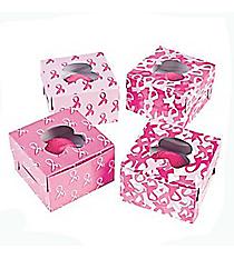 12 Pink Ribbon Cupcake Boxes #3/3173