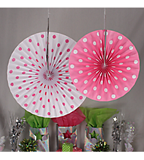 6 Pack of Candy Pink Polka Dot Hanging Fans #3/4190