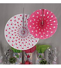 6 Pack of Hot Pink Polka Dot Hanging Fans #3/4196