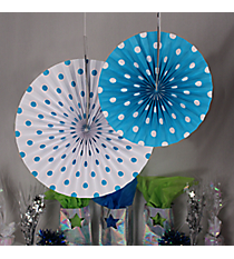 6 Pack of Turquoise Polka Dot Hanging Fans #3/4211