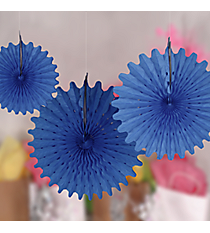 One Dozen Blue Tissue Hanging Fans #3/4216