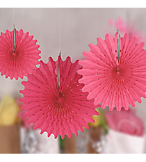 One Dozen Candy Pink Tissue Hanging Fans #3/4217
