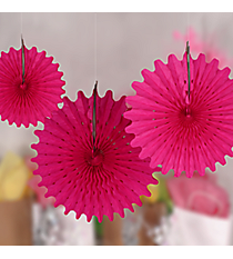 One Dozen Hot Pink Tissue Hanging Fans #3/4219