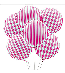 6 Candy Pink Striped Balloons #3/4232