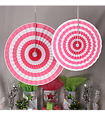 6 Pack of Candy Pink Stripe Hanging Fans #3/4233
