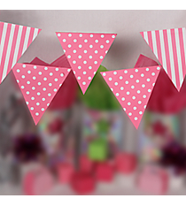 Candy Pink Stripe and Polka Dot Pennant Banner #3/4234