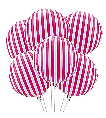 6 Hot Pink Striped Balloons #3/4238