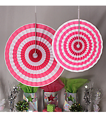 6 Pack of Hot Pink Stripe Hanging Fans #3/4239