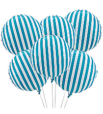 6 Turquoise Striped Balloons #3/4253
