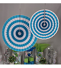 6 Pack of Turquoise Stripe Hanging Fans #3/4254