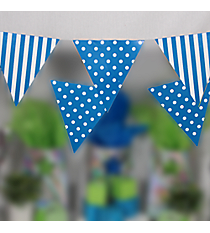 Turquoise Stripe and Polka Dot Pennant Banner #3/4255