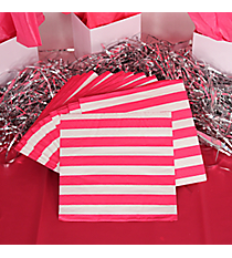 Pack of 16 Hot Pink Striped Beverage Napkins #3/4858