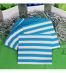 Pack of 16 Turquoise Striped Beverage Napkins #3/4860