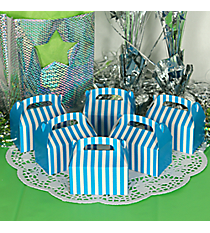 24 Turquoise Striped Mini Treat Boxes #3/6050