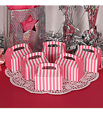 24 Candy Pink Striped Mini Treat Boxes #3/6074