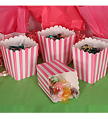 2 Dozen Candy Pink Striped Mini Popcorn Boxes #3/6075