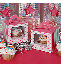 12 Candy Pink Striped & Polka Dot Cupcake Boxes with Handles #3/6169