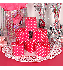 12 Hot Pink Polka Dot Gift Boxes #3/6283