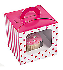 12 Hot Pink Striped & Polka Dot Cupcake Boxes with Handles #3/6289
