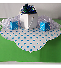 Turquoise Reversible Stripe and Polka Dot Table Runner #3/6295