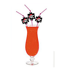 One Dozen Pink Pirate Girl Straws With Cutouts #3/6350