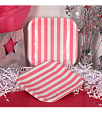 Pack of 8 Candy Pink Striped Square Dessert Plates #3/8054